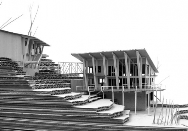 Exterior of the entire house in black and white