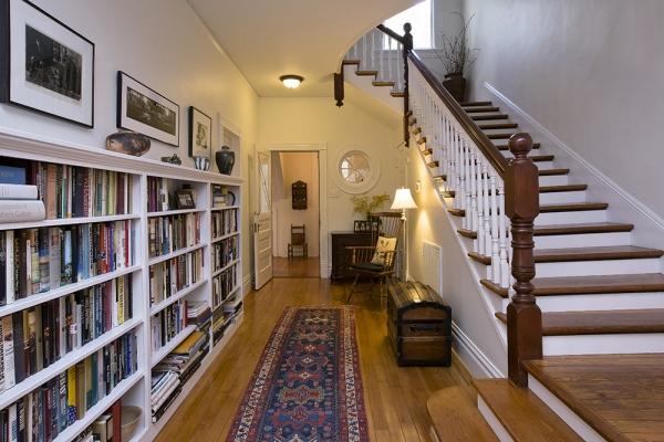 Interior of the built in bookshelves
