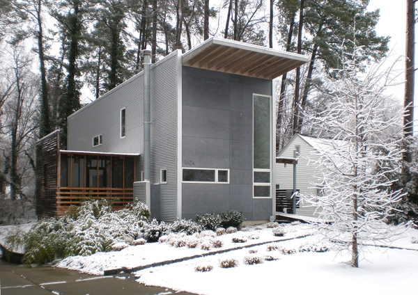 Exterior of the house in winter