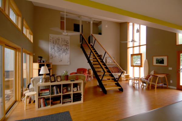 Interior photo of the living room and staircase