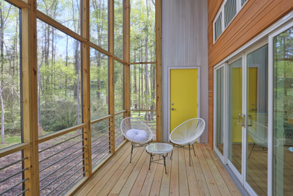 Exterior photo of the screened in porch