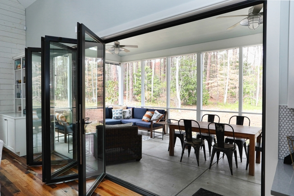 Interior photo of the screened in porch