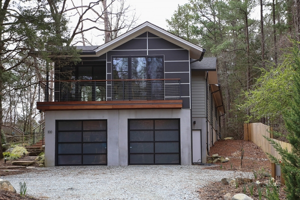 Exterior photo of the garage and deck